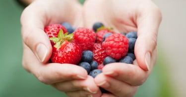 pequenos frutos nas mãos
