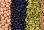 kidney bean, lentil, peas and chick-pea as a background