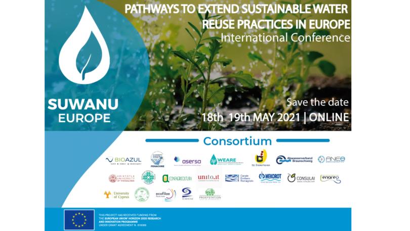 OprojetoH2020 SuWaNu Europe, que promove a reutilização de águas residuais tratadas na agricultura, está a organizar uma conferência.