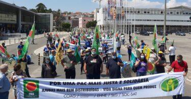 """Centenas de agricultores manifestaram em Lisboa, exigindo uma PAC """"mais justa e solidário"""" e que defenda a agricultura familiar."""